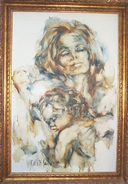 Hyacinthe Kuller, early mother and child oil painting on canvas, imported carved wood gold frame