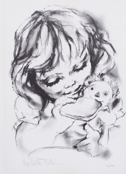 GIRL FEEDING TOAST TO RAGGEDY ANN DOLL, mini lithograph 28/200