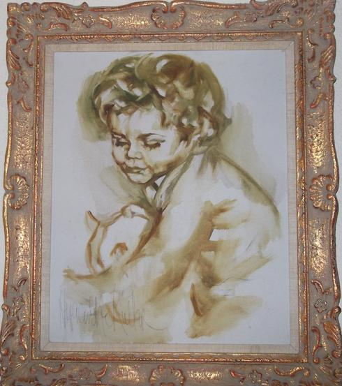 """Boyhood"" Hyacinthe oil painting"