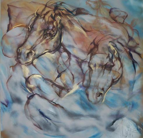 """Ghost Horses"" by Hyacinthe Kuller 48"" x48"" oil on canvas"
