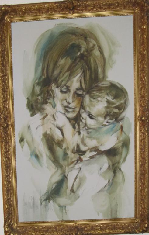 "Hyacinthe Kuller early Mother and Child 2x3"" oil on canvas"